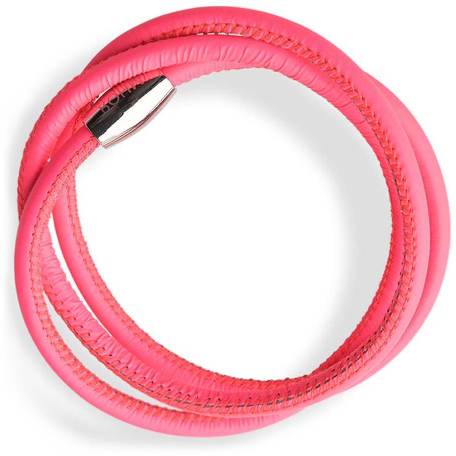 Rohm Lederarmband neon pink<br>Edelstahl, Magnetschließe