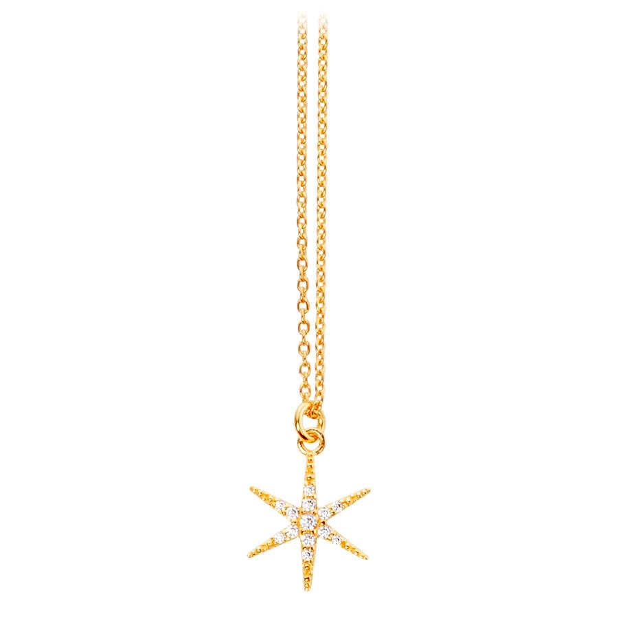 ratius Halskette 61<br>Silber goldplattiert, Zirkonia