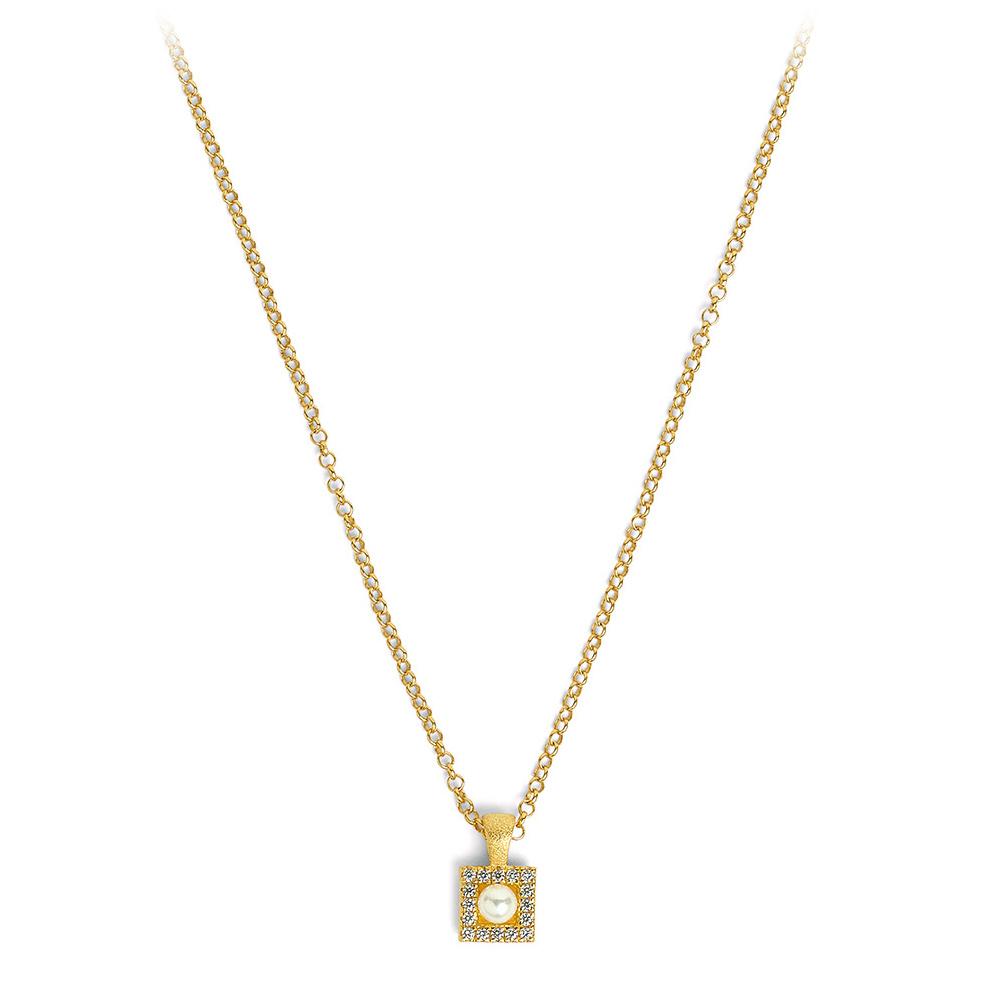 Bernd Wolf Halskette 87609656<br>Silber 24ct goldplattiert, Süßwasserperle, Zirkonia