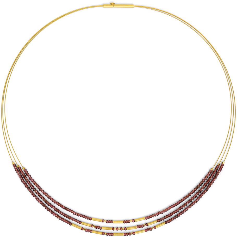 Bernd Wolf Halsreif 85204776<br>Silber 24ct goldplattiert, Granat