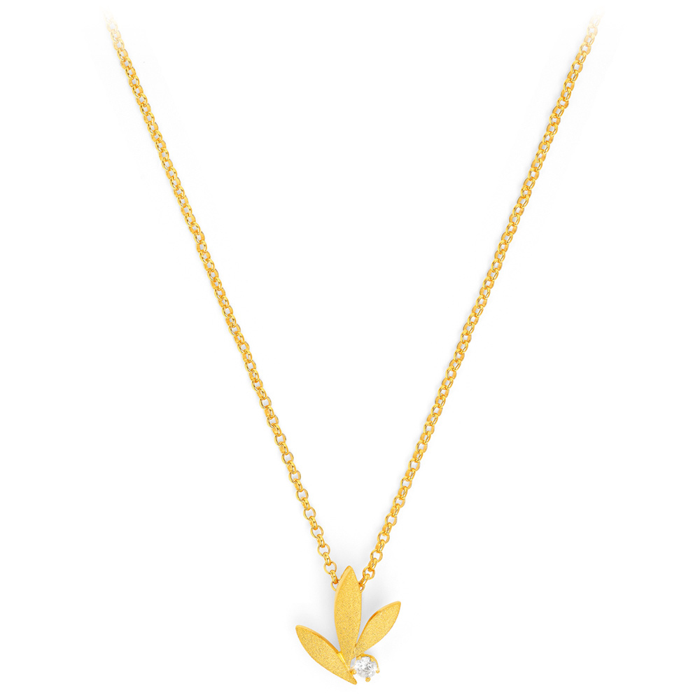 Bernd Wolf Halskette 87622156<br>Silber 24ct goldplattiert, Zirkonia