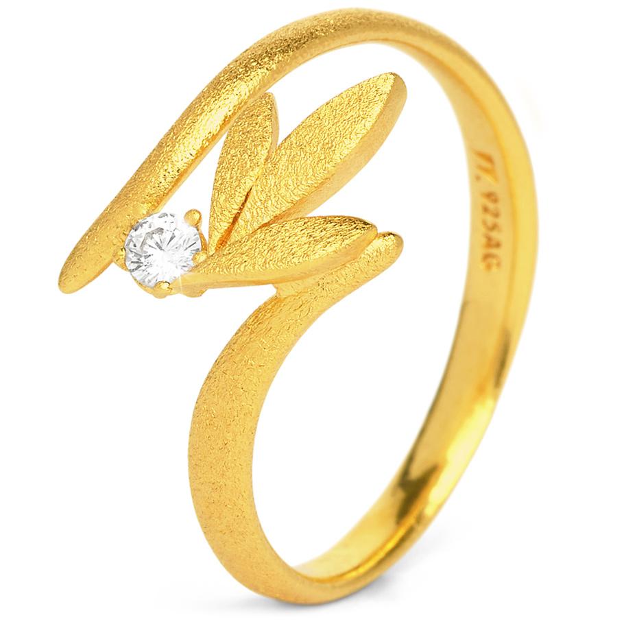 Bernd Wolf Ring 53137156<br>Silber 24ct goldplattiert, Zirkonia