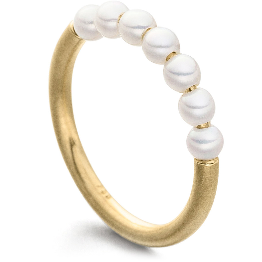 Eva Strepp Ring Pin<br>Gelbgold mit 7 Süßwasserperlen