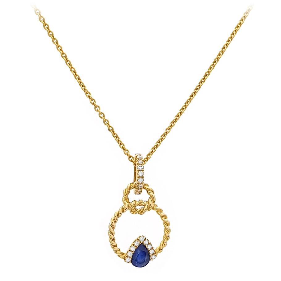 Mio Fallegro Halskette 501181585<br>Gelbgold mit Safir, Brillanten