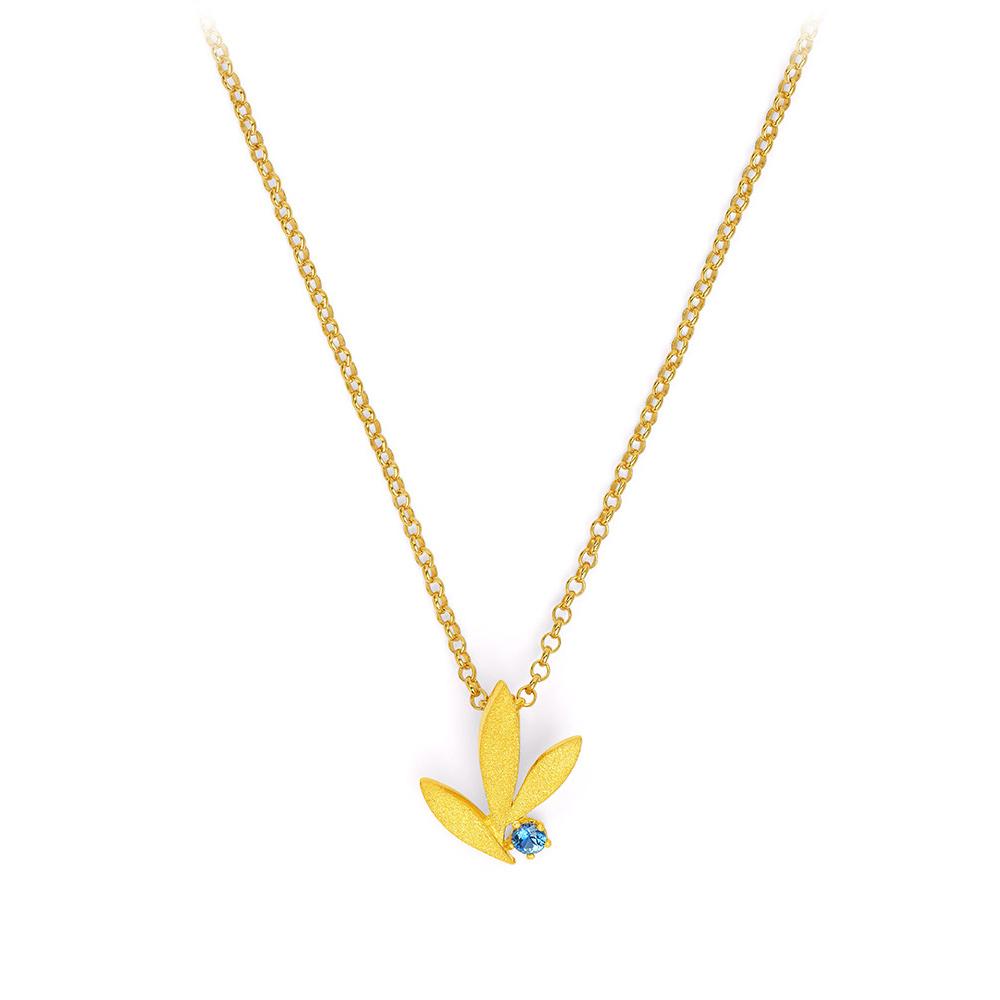 Bernd Wolf Halskette 87622136<br>Silber 24ct goldplattiert, 1 Safir