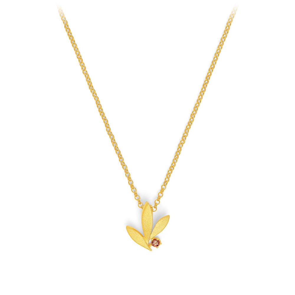 Bernd Wolf Halskette 87622776<br>Silber 24ct goldplattiert, 1 Granat