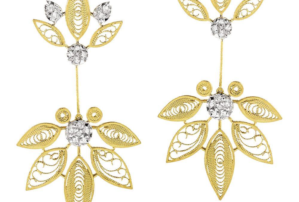 Luisa Rosas Ohrschmuck HBR5509AD800er Gelbgold mit Diamanten