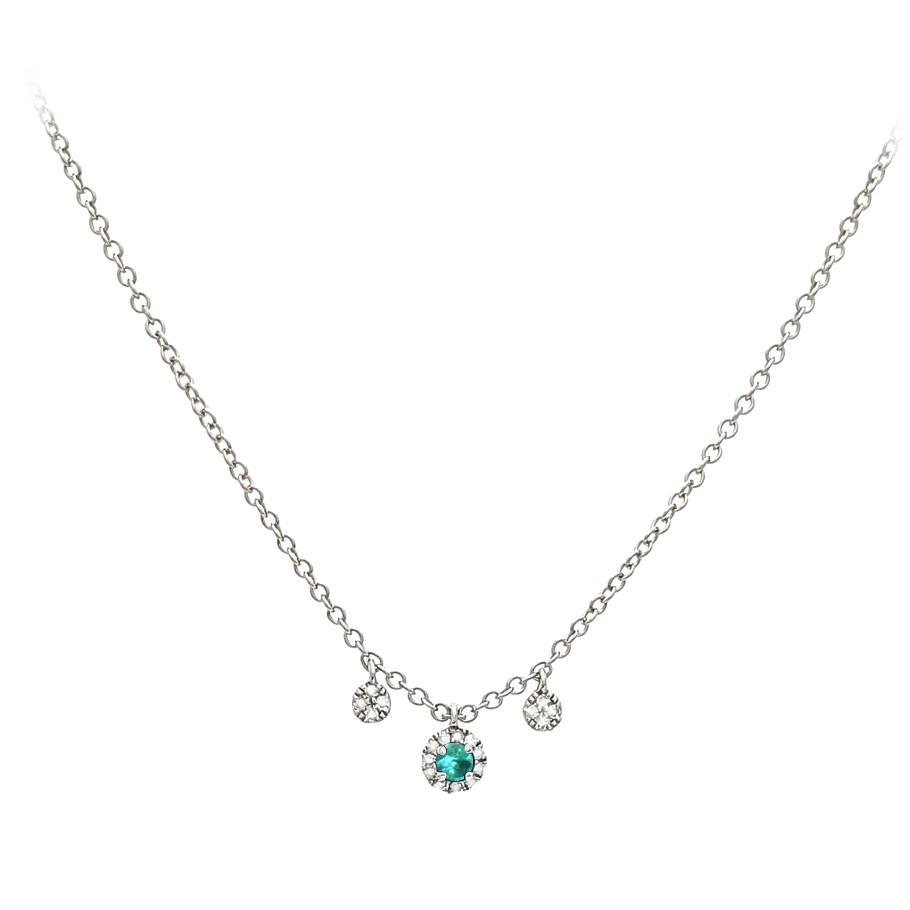 Mio Fallegro Halskette 711182494<br>Weißgold mit 19 Diamanten, 1 Smaragd