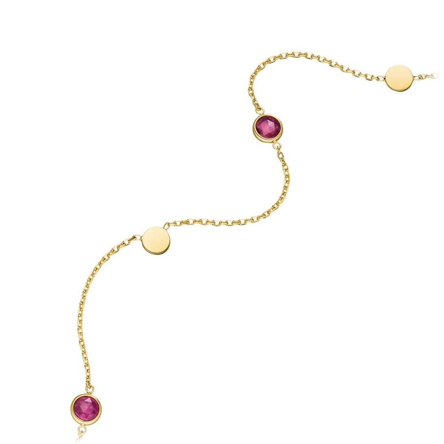 Mio Fallegro Halskette mf2104<br>Gelbgold mit rosa Turmalin