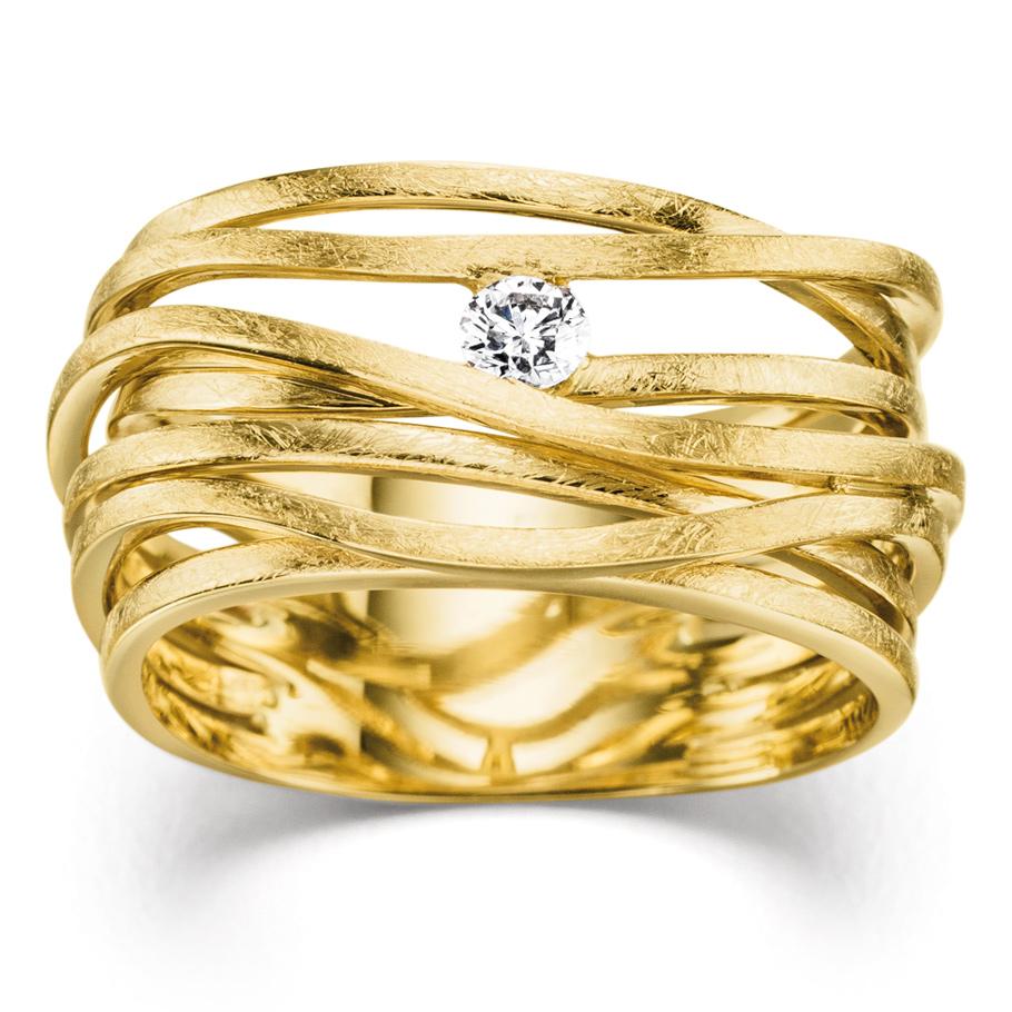 Mio Fallegro Ring mf2139<br>Gelbgold mit Brillant, matt